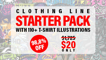 Clothing Line Starter Pack with 110+ T-Shirt Illustrations only $20 - 98% off