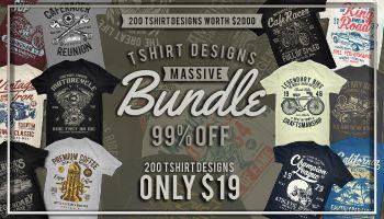 200 Tshirt Designs Massive Bundle - Only $19