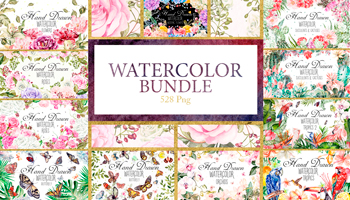 Hand Drawn Watercolor Bundle