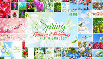 Spring Flowers and Paintings Bundle only $7