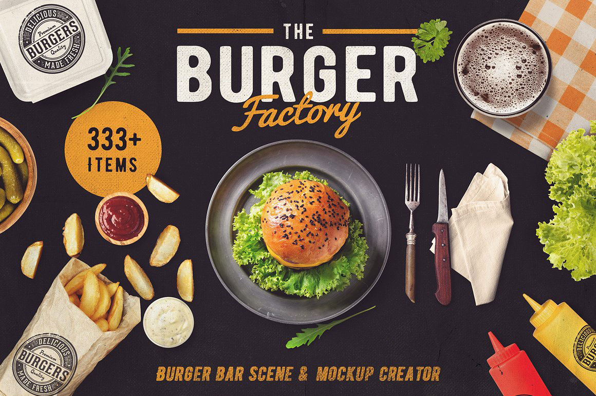 Burger Bar scene and mock-up generator