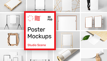 Poster Mockups Bundle - Studio Scene Edition - only $19