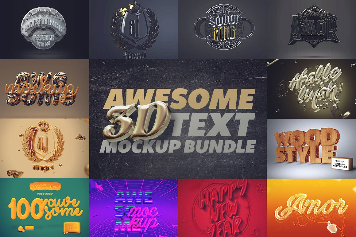 Awesome 3D Text Mockup Bundle - 100 Copies Available