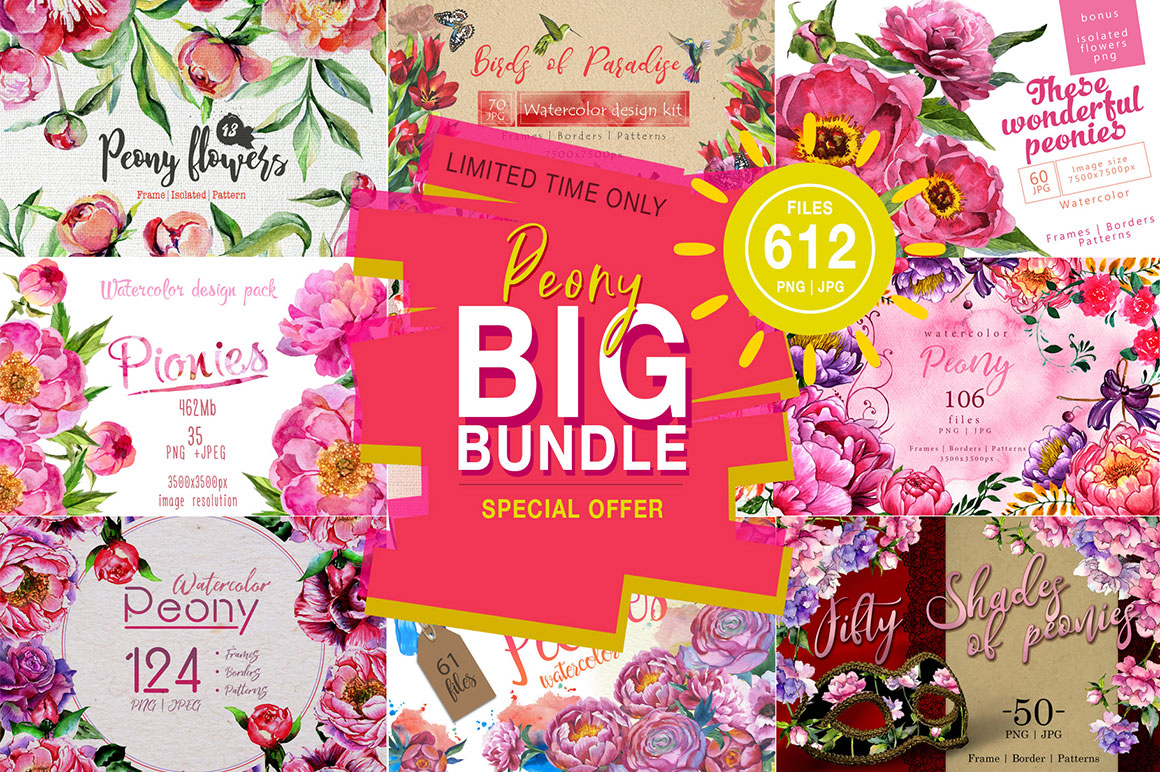 Big bundle of Colourful peonies! 10 collections, 612 files, PNG + JPG inside.