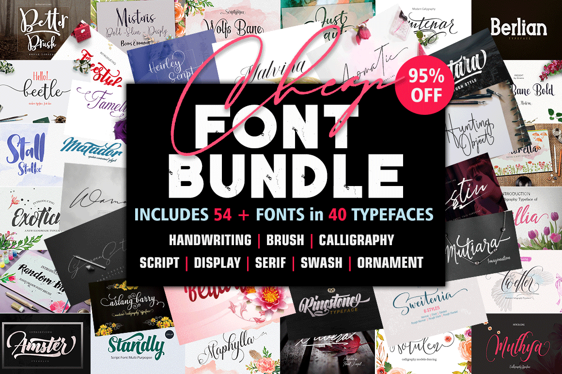 54 Font Bundle Collection
