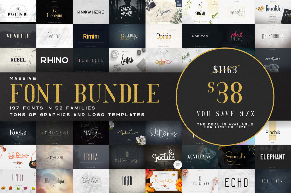 Massive Font Bundle - 197 fonts - Only 100 copies available