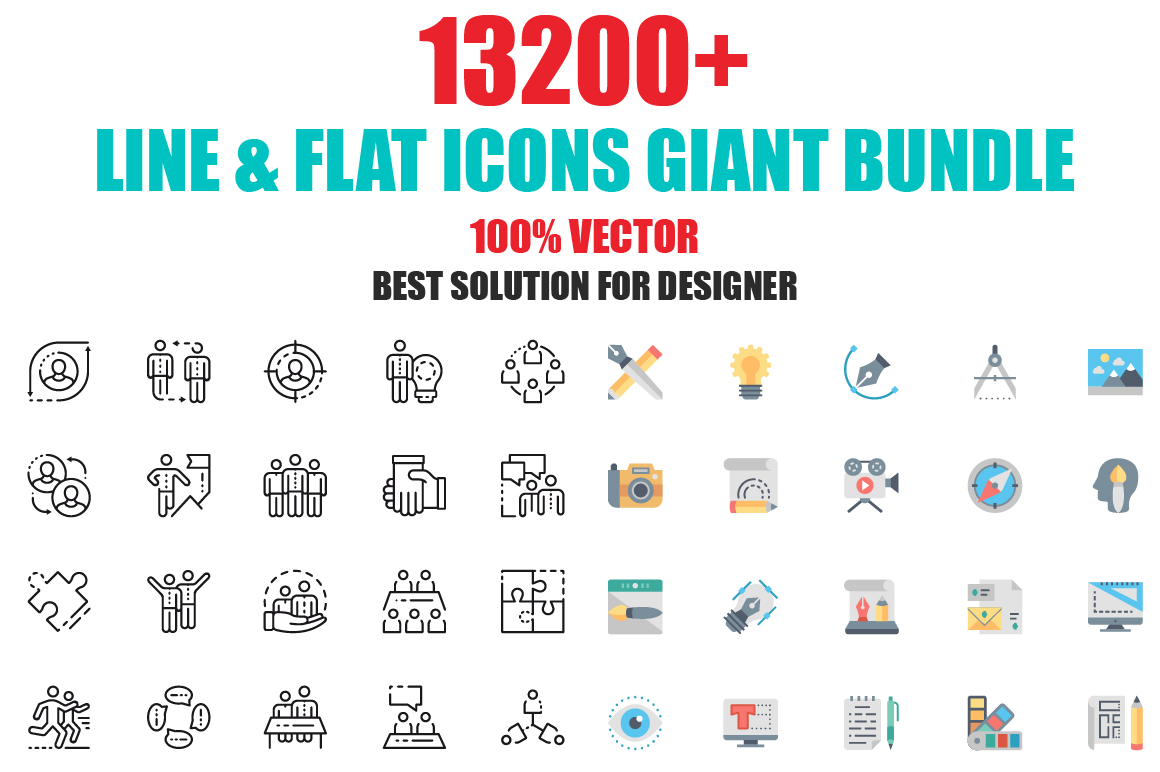 Download this gigantic bundle with 13,200+ vector icons