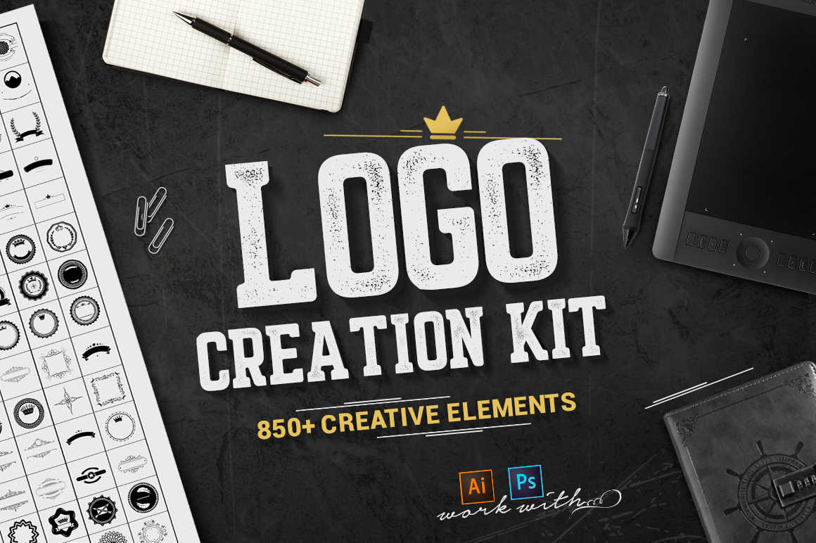 Logo Creation Kit - Create tons of fantastic emblems with this creative logo kit