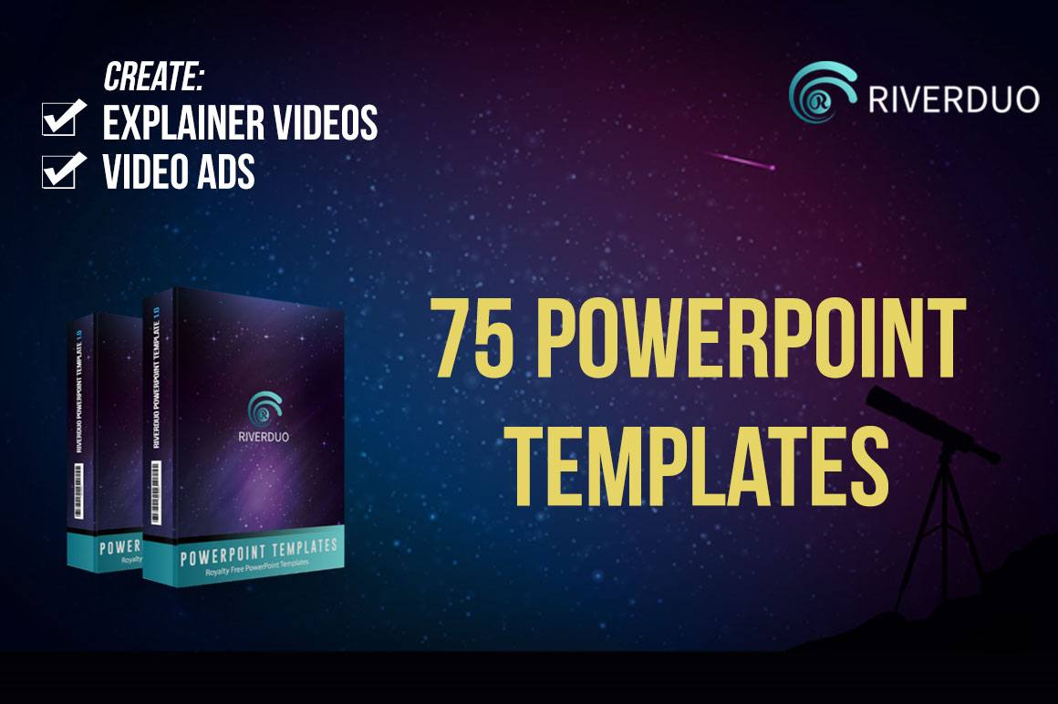 75 PowerPoint Templates, make cartoon video, video ads and presentation.