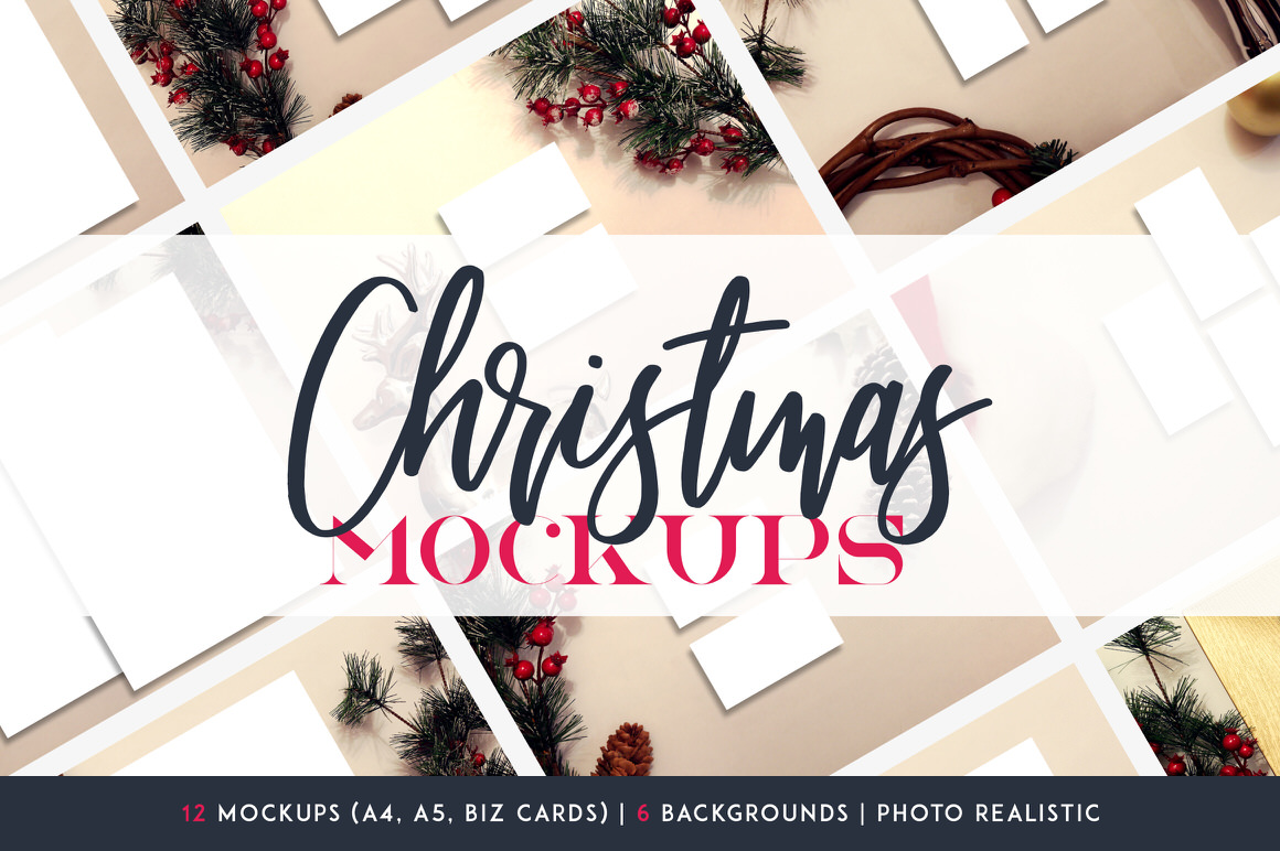 12 Christmas Mockups + Backgrounds - 100 copies
