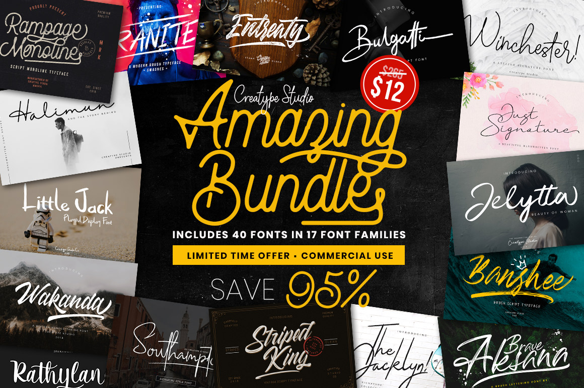 Amazing Font Bundles Include 40 Script Fonts Only $12