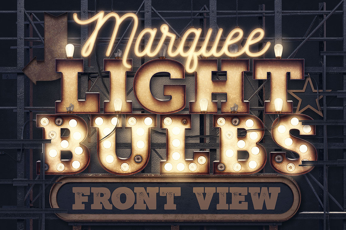 Marquee Light Bulbs – Front View - Extended License