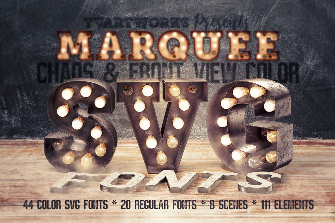 Marquee Light Bulbs Color Fonts