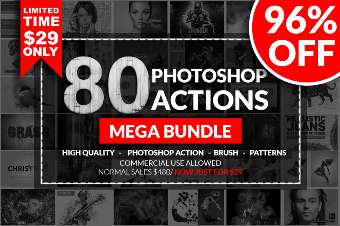 Mega Photoshop Actions Bundle with Extended License - Only $29