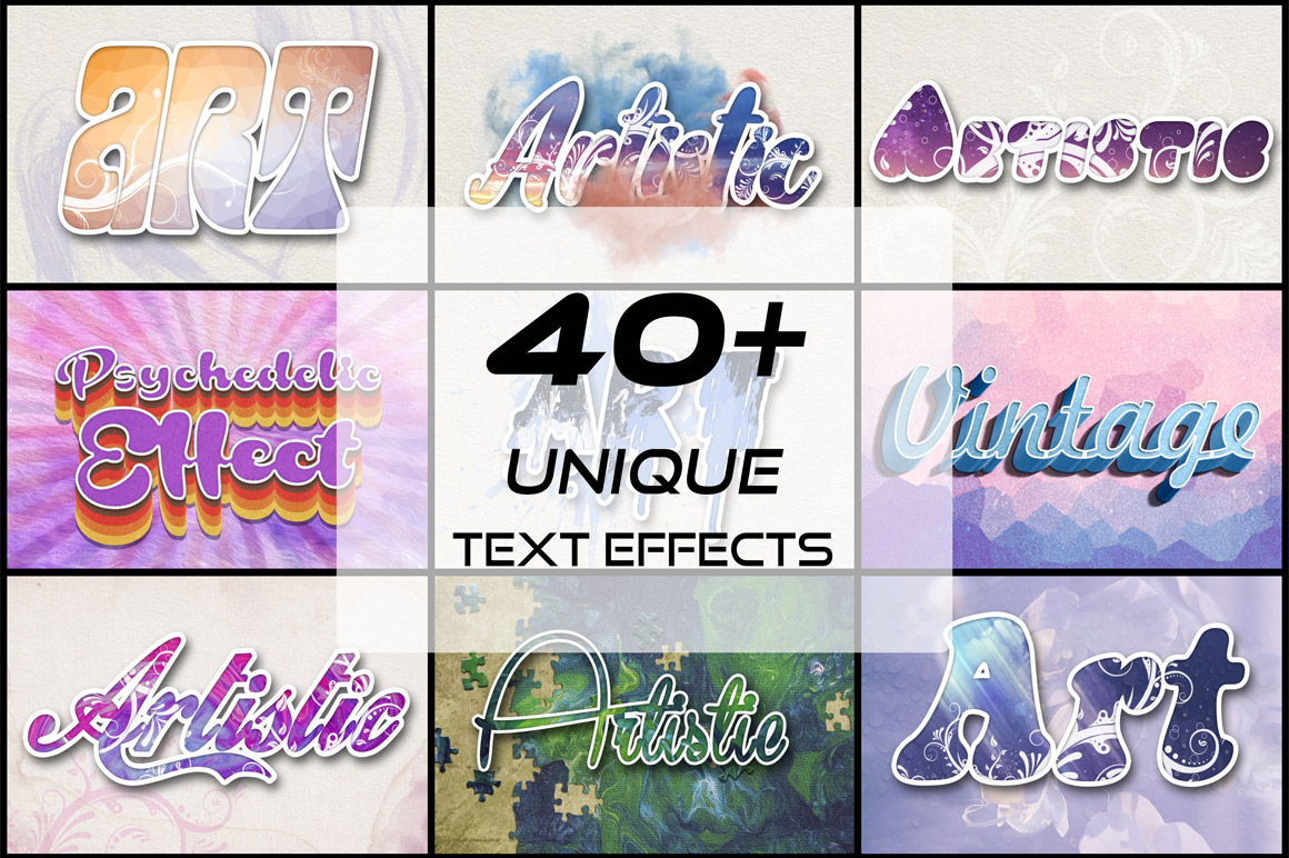 40+ Unique Text Effects With Extended License