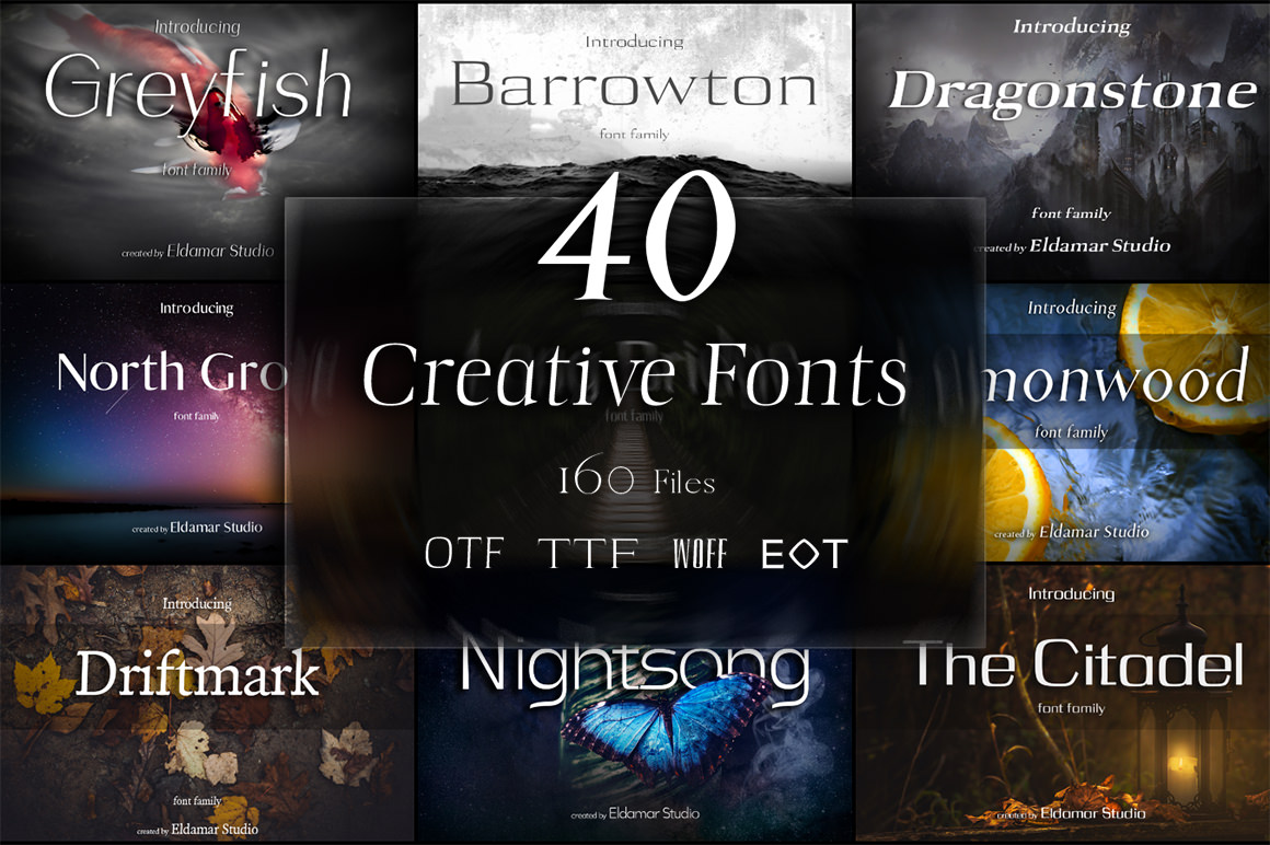 40 Creative Fonts with Extended License for only $15