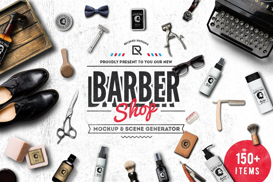 Barber Shop Scene and Mockup Creator