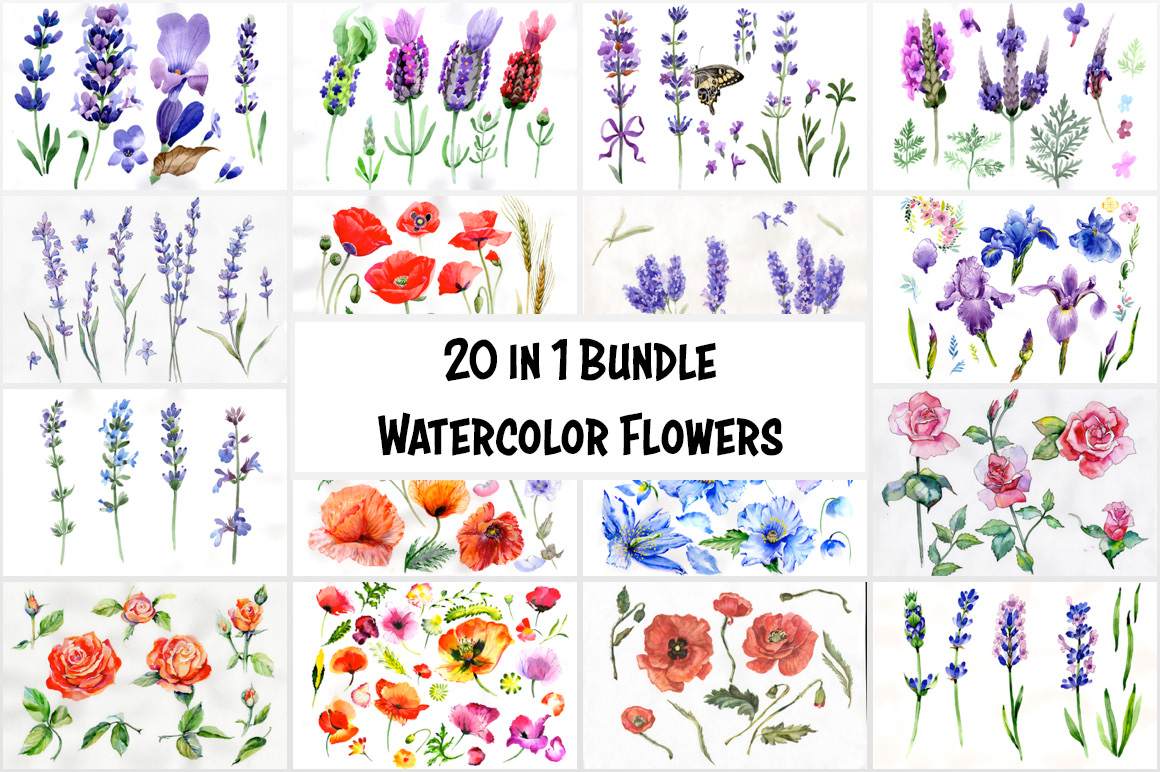 20 in 1 Bundle - Watercolor Flowers