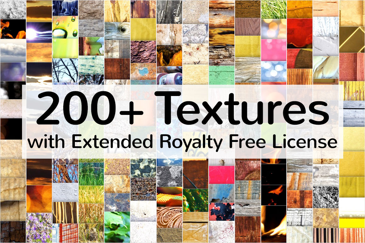 200+ Textures with Extended Royalty Free License