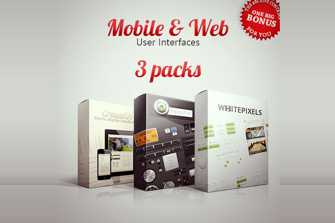 Mobile and Web User Interfaces - 3 Packs for $17