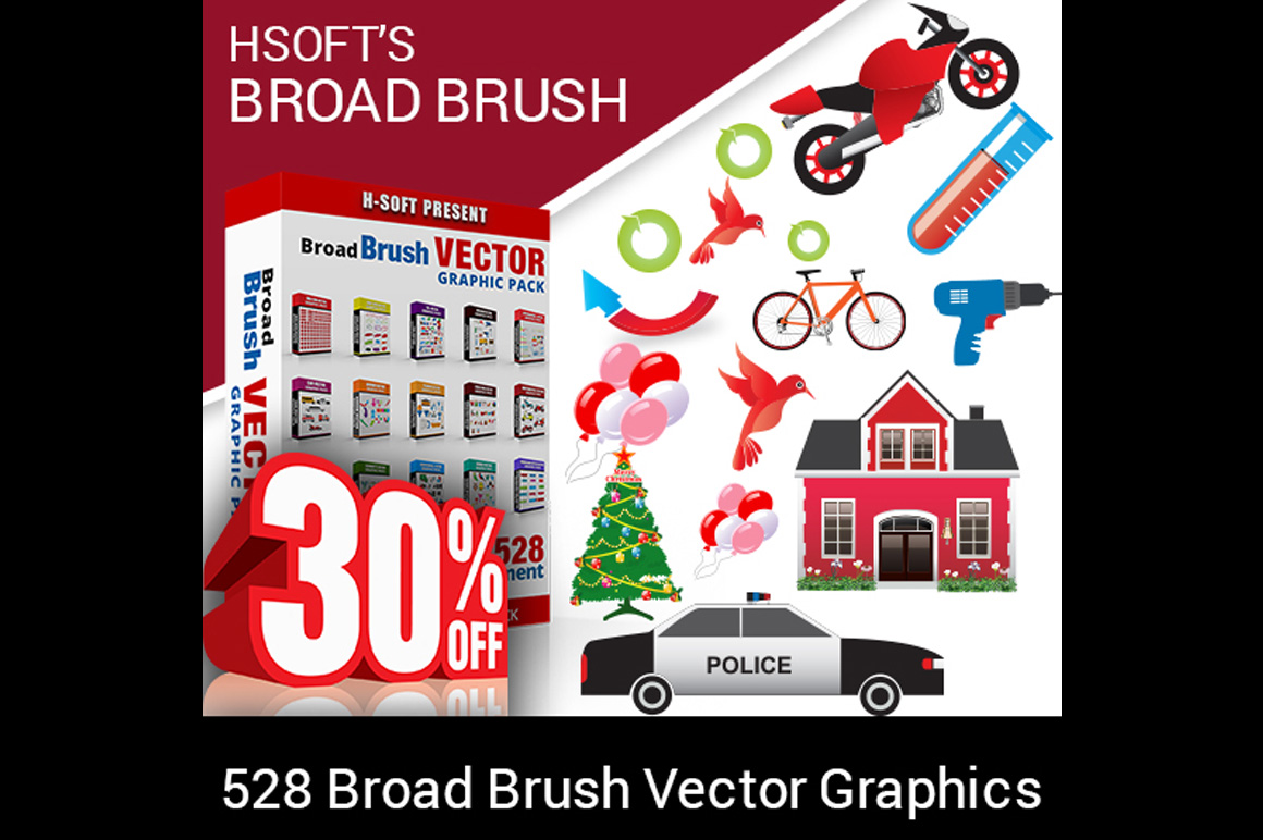 Broad Brush Vector Graphic Pack - 528 Graphics for only $12