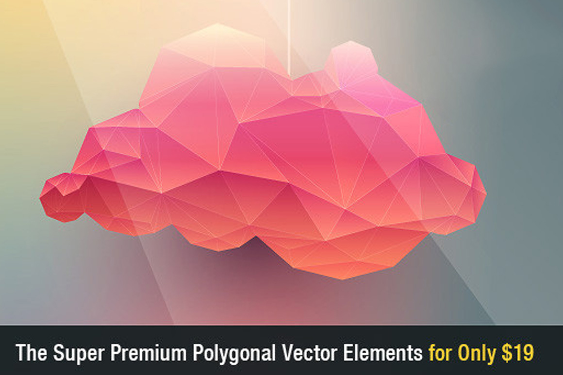 Super Premium Polygonal Vector Elements with an Extended Royalty License – Only $19