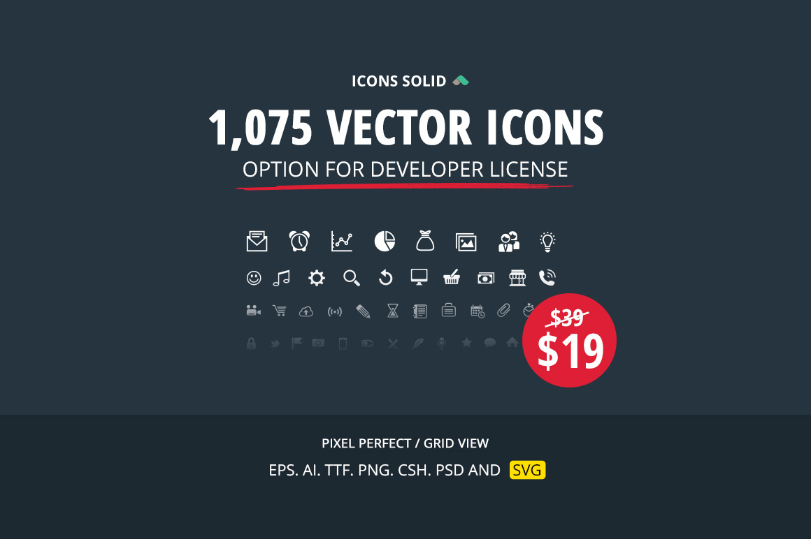 1075 Vector Icons from Icons Solid - Only $19