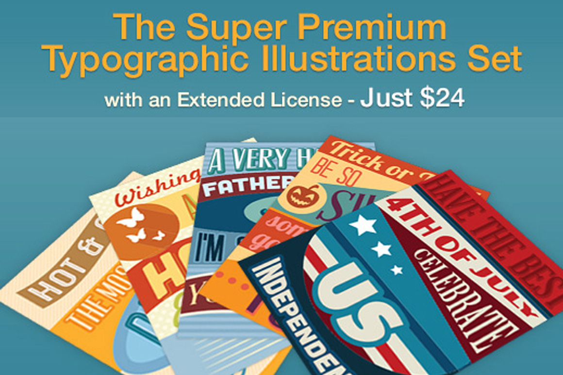 The Super Premium Typographic Illustrations Set & Bonus – Just $24