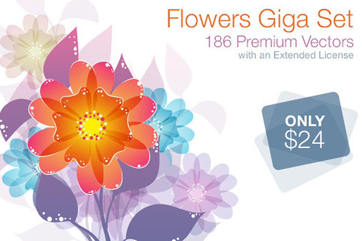 Vector Flowers Giga Set 186 Premium Items with an Extended License – Only $24