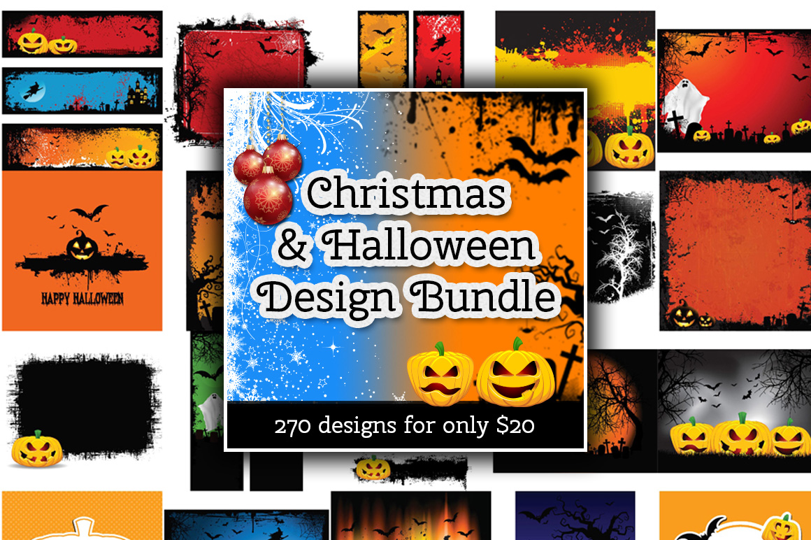 Christmas and Halloween Design Bundle - 270 Designs for only $20