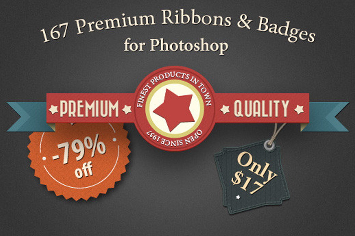 167 Premium Ribbons & Badges for Photoshop - Only $17