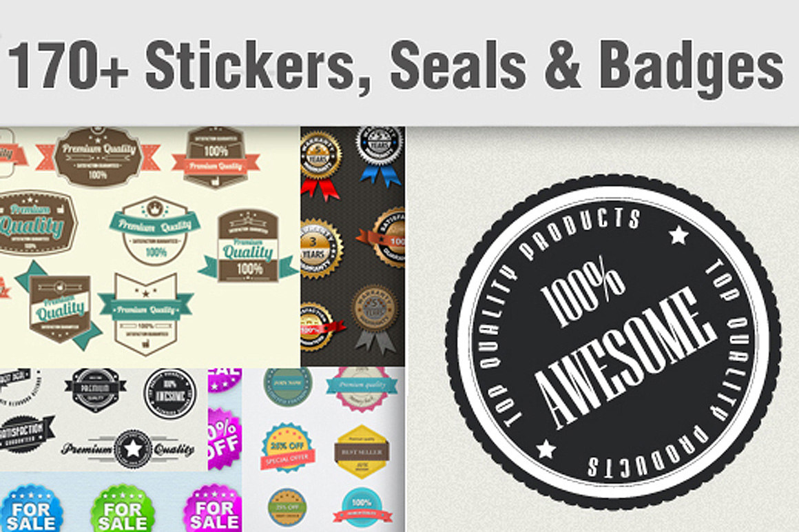 170 Stickers, Seals & Badges for Just $8