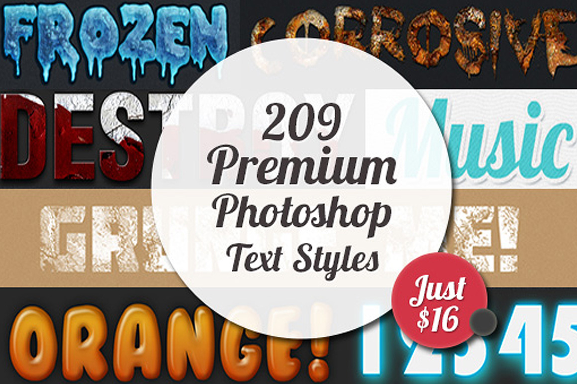 209 Premium Photoshop Text Styles for Just $16