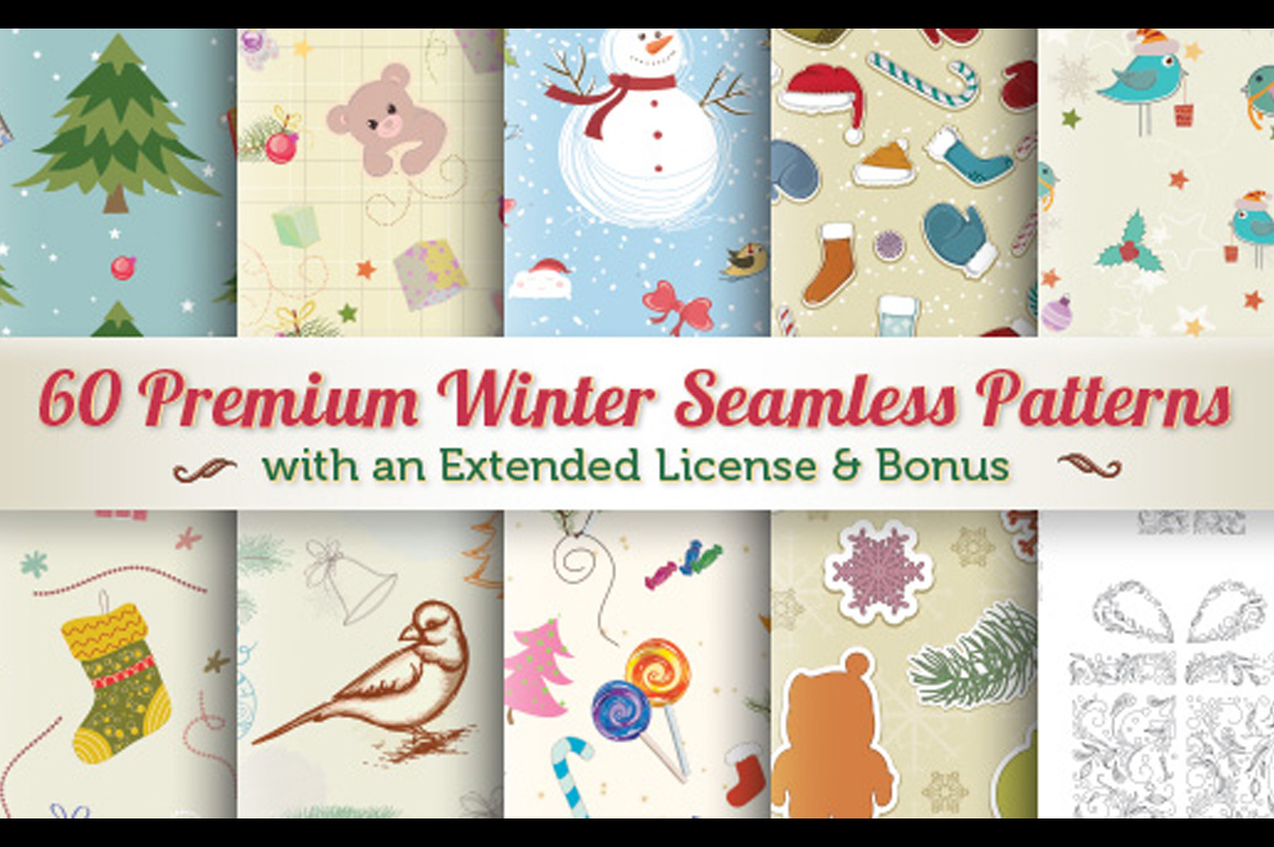 60 Awesome Seamless Winter Patterns with an Extended License & Bonus – Only $14