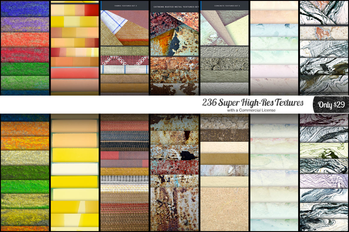 Get 236 Super High-Res Textures with Commercial License for Only $29 (Value $240)
