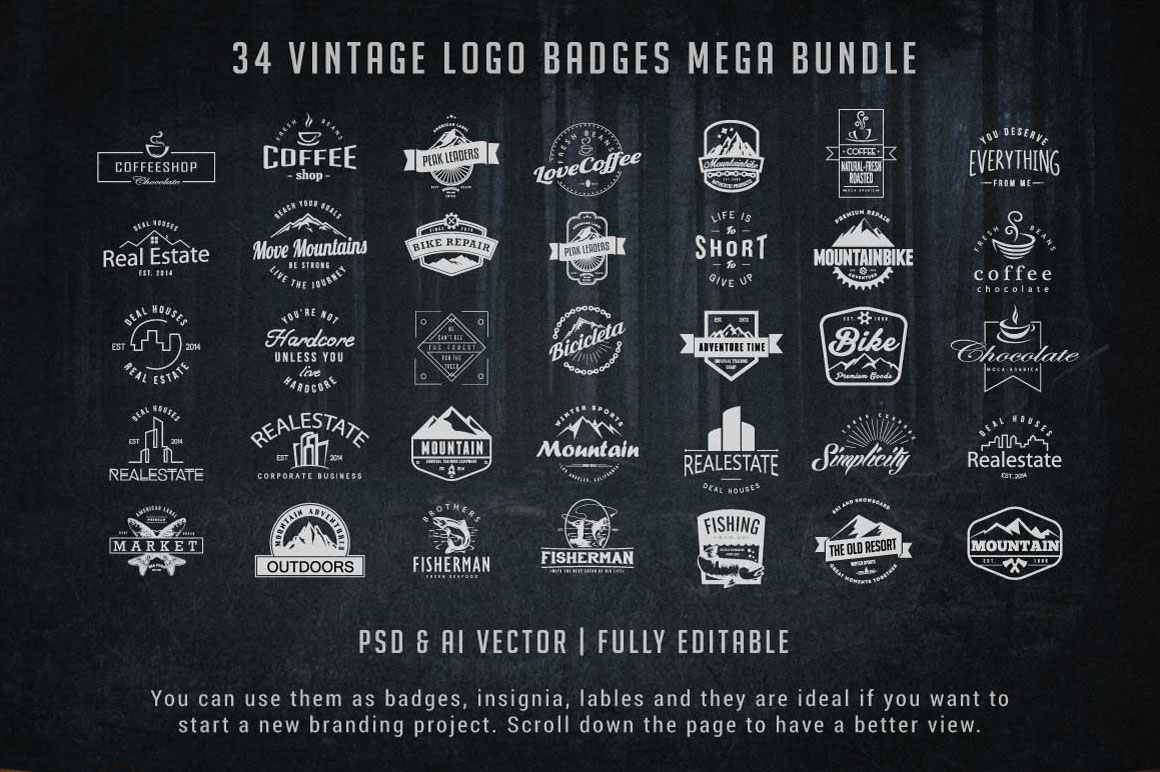 Vintage Logo Badges And Mountain Shapes Bundle
