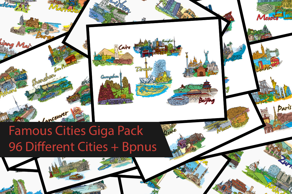 Famous Cities Giga Pack 96 Different Cities for Just $19