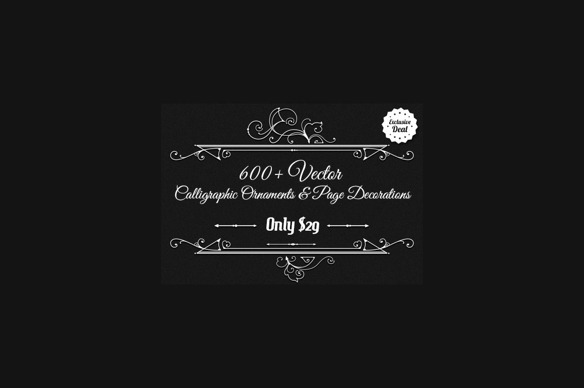 Get 600+ Vector Calligraphic Ornaments & Page Decorations – Only $29