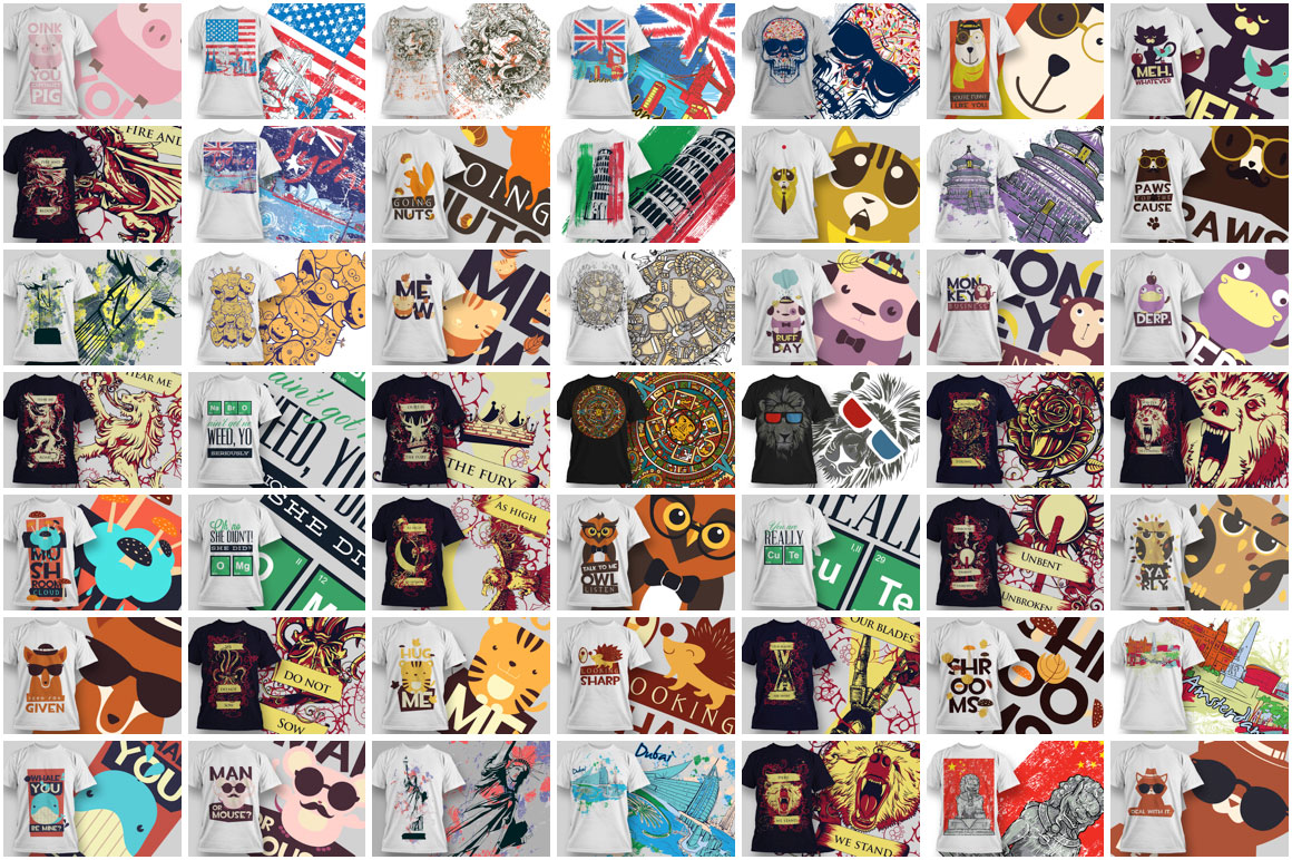 Get 50 Jaw-Dropping T-shirt Designs with an Extended License
