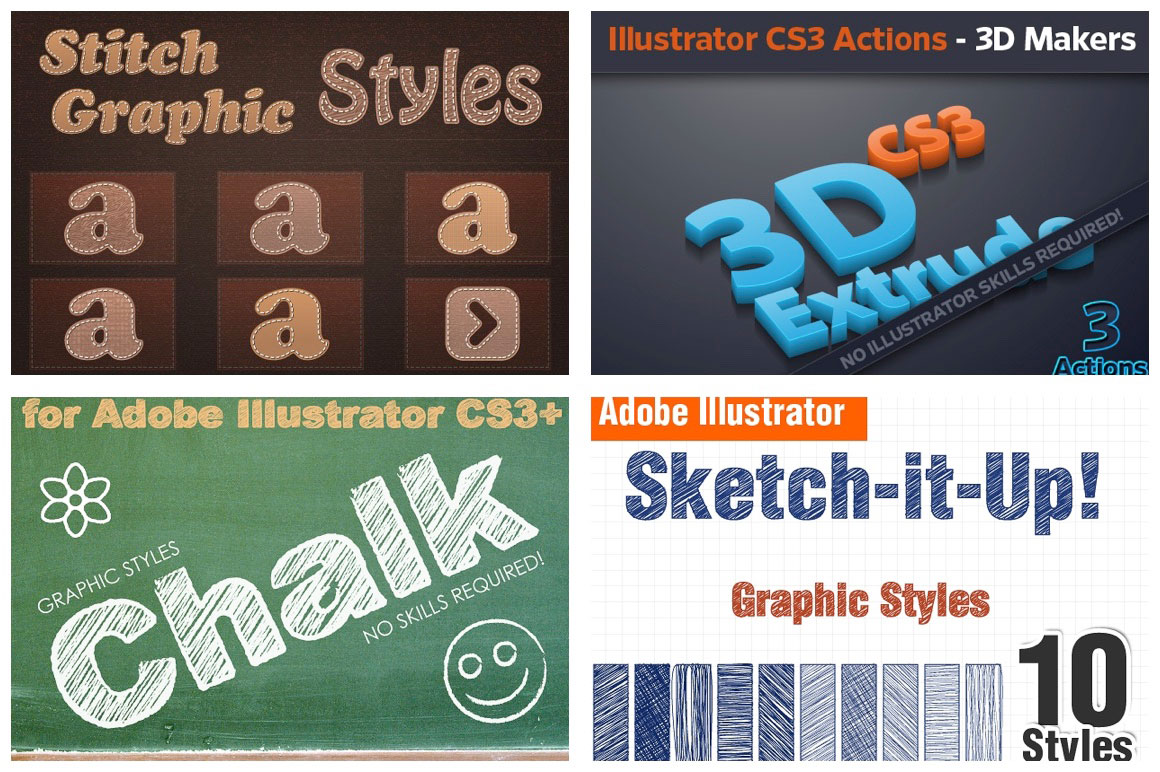 Get 43 Illustrator Actions & Styles for Just $9
