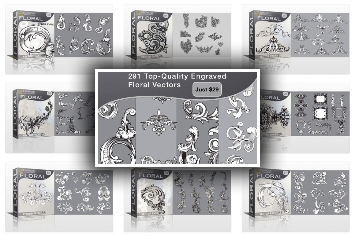 291 Top-Quality Engraved Floral Vectors for Just $29 (value $450)