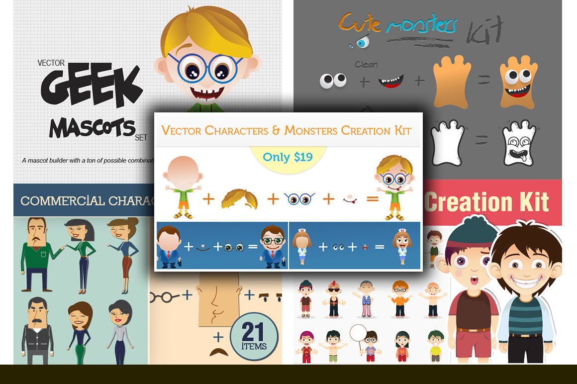 Vector Characters & Monsters Creation Kit with a Commercial License - Only $19