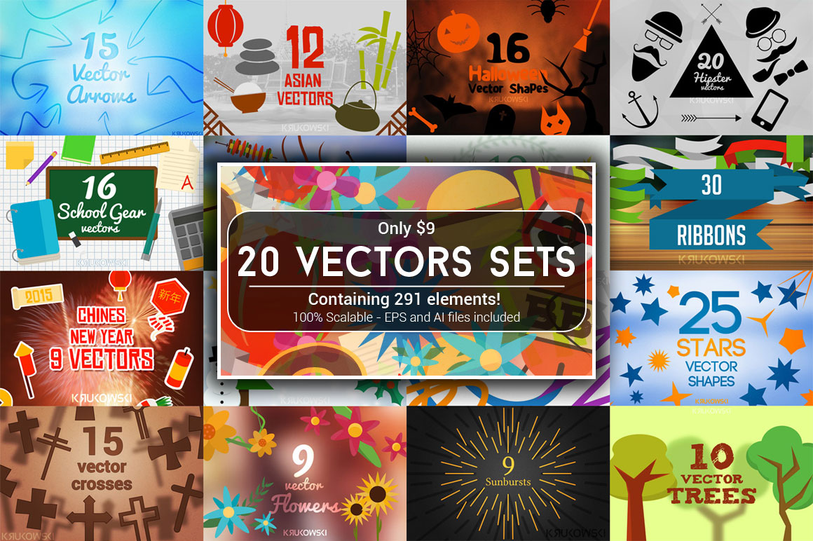 20 Vectors Sets Bundle with an Extended License