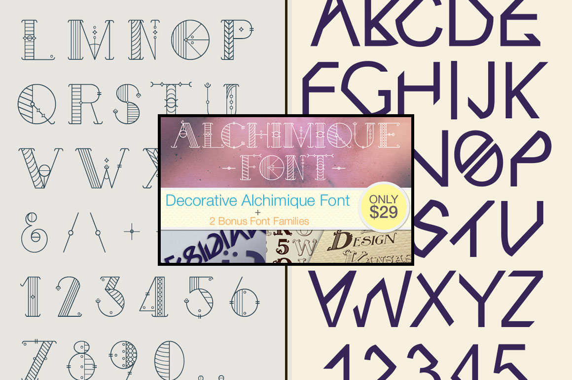 Decorative Alchimique Font + Vector Files - Only $29