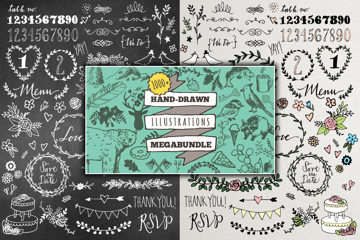 Bestselling Hand Drawn Vector Clipart Bundle - Over 1000 Illustrations!