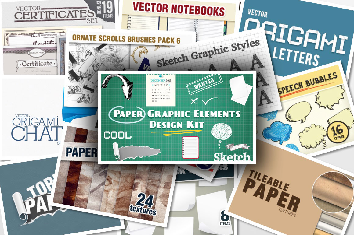 Paper Elements Kit 444 Top-Quality Items with an Extended License for Just $19