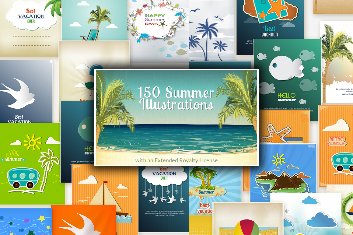 150 Summer Vector Illustrations with an Extended Royalty License