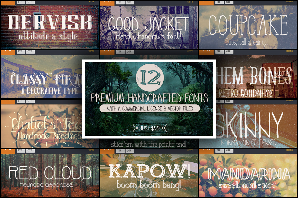 12 Premium Handcrafted Fonts with a Commercial License & Vector Files – Just $49
