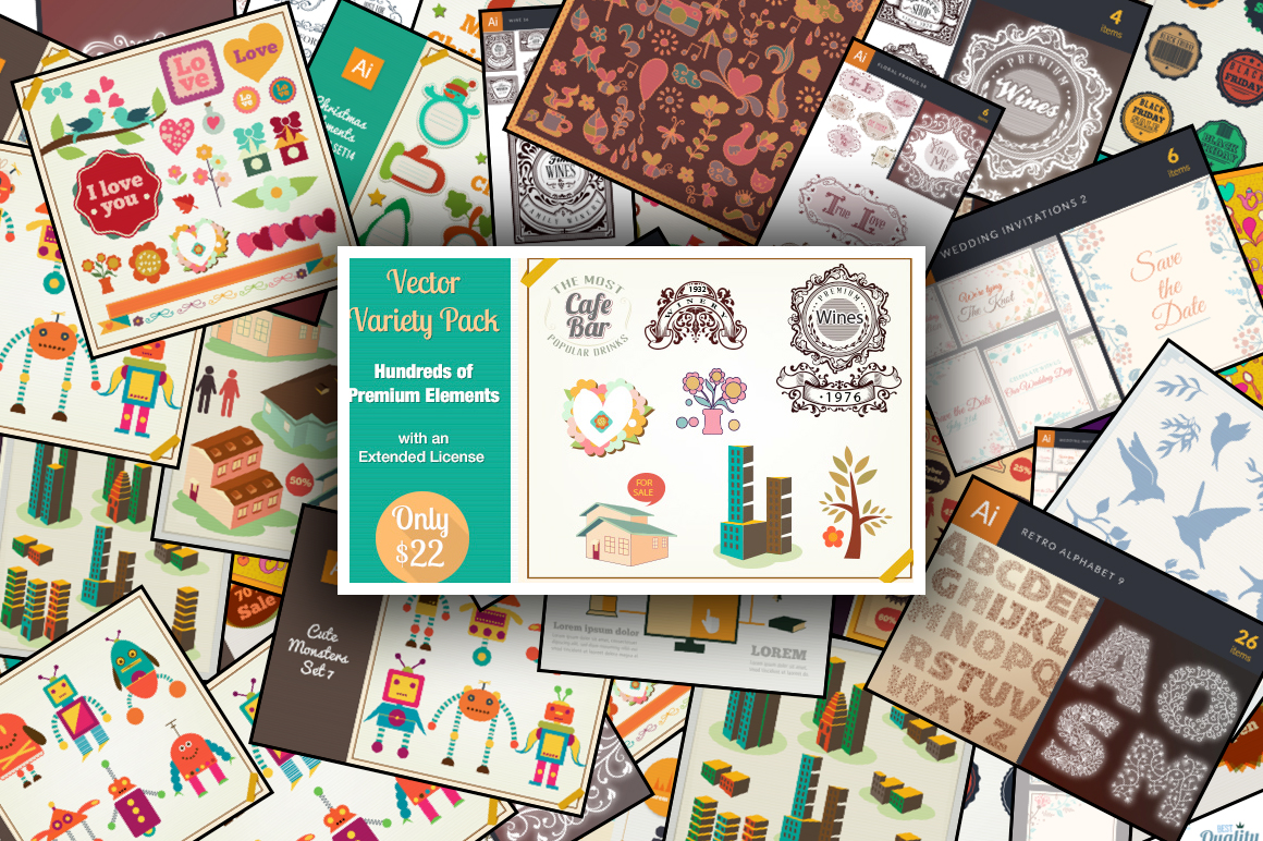 Vector Variety Pack Hundreds of Premium Elements with an Extended License – Only $22