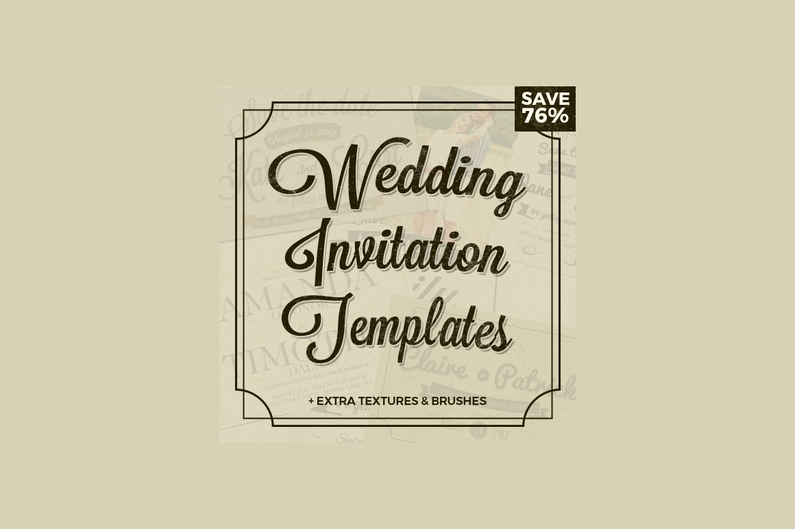 Wedding Invitation Templates + Textures and Brushes